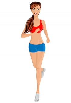 フルレングスの肖像画を走っている女性