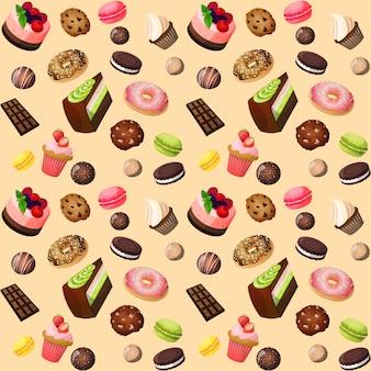 お菓子のシームレスな背景