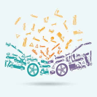 Концепция иконы автокатастрофа