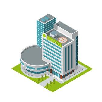 Здание больницы изометрии