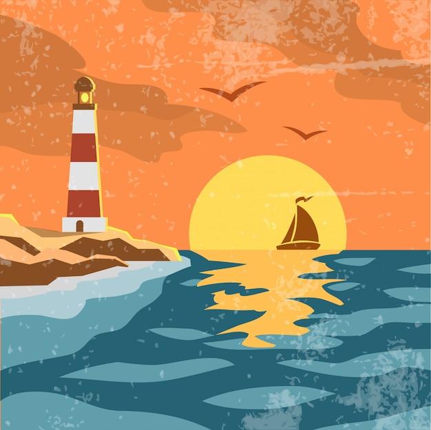 Море ретро постер