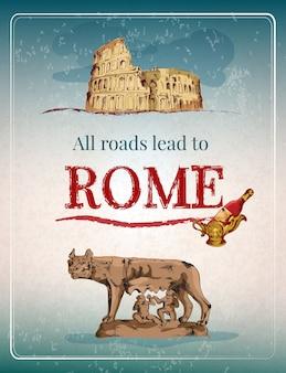 Рим ретро постер