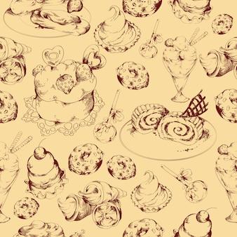 お菓子スケッチシームレスパターン