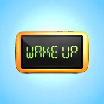 液晶ディスプレイと現実的なデジタル目覚まし時計が目を覚ますコンセプトテキスト