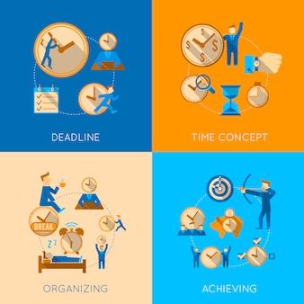 Получите организованную встречу в срок управления эффективностью достижения концепции плоской композиции, изолированных векторные иллюстрации