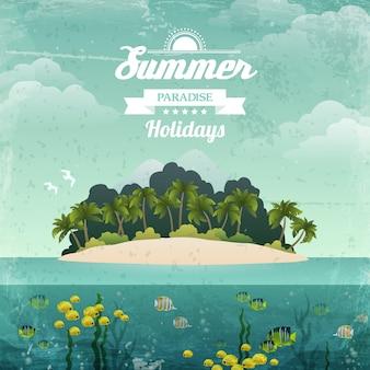 夏の楽園の休日。熱帯の島のヴィンテージのイラスト