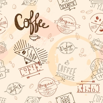 ビンテージレトロなコーヒーのシームレスパターン