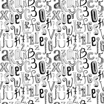 シームレスパターンアルファベットブラック