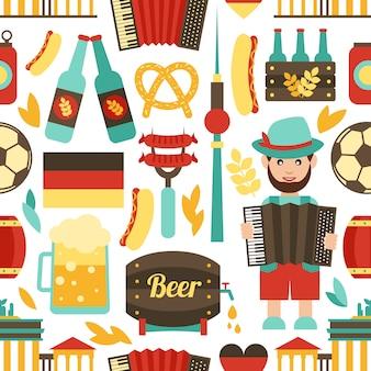ドイツ旅行のシームレスパターン