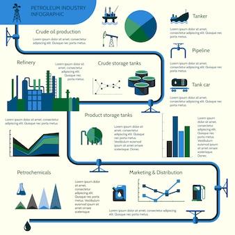 世界の石油生産分布と石油抽出率のインフォグラフィックテンプレート図レイアウトレポートプレゼンテーションデザインベクトルイラスト