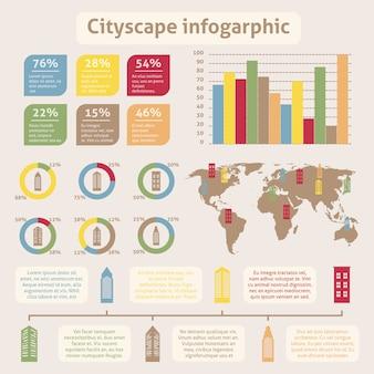 都市の景観アイコンインフォグラフィック
