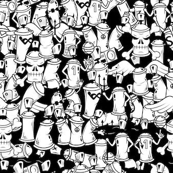 Граффити баллончик персонажей бесшовные модели
