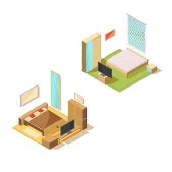 Мебель изометрическая набор из двух спален интерьеров с двуспальной кроватью, телевизором, зеркалом и тумбочкой векторная иллюстрация