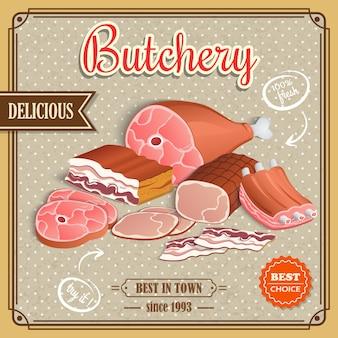 レトロな肉のポスター