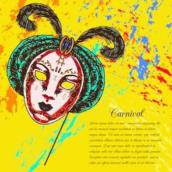 Карнавальная венецианская праздничная полнолицевая маска с текстовым шаблоном
