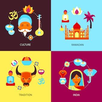 Индия плоский набор