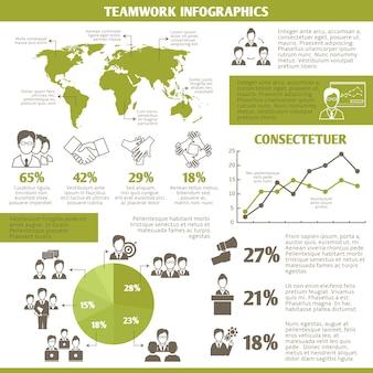 チームワークビジネスインフォグラフィックテンプレート