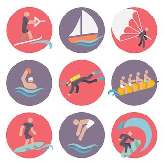 Водные виды спорта набор иконок плоский