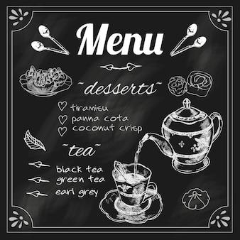 Чайное меню на доске для чайных трав. чайник с десертным мелом, эскиз, векторная иллюстрация.