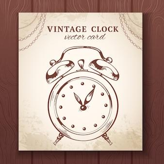 古いビンテージレトロなスケッチ目覚まし時計紙カードベクトルイラスト