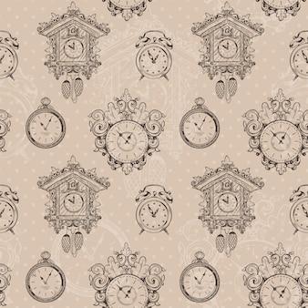 古いビンテージ時計とストップウォッチスケッチシームレスパターンベクトル図