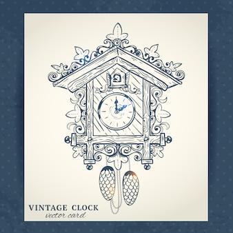 古いビンテージレトロなスケッチカッコウ時計紙ベクトルイラスト