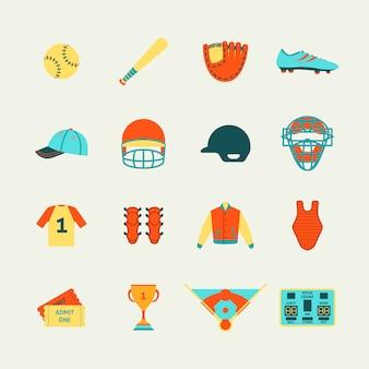 Бейсбол иконки набор плоских