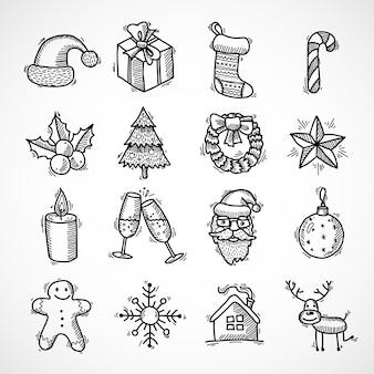 Рождественские каракули набор элементов