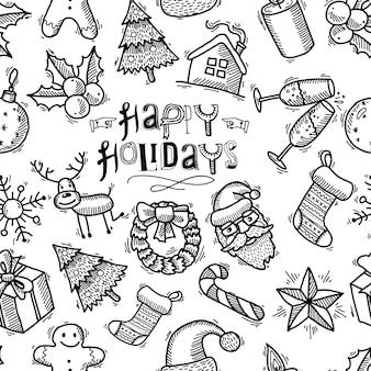 Рождество бесшовные модели в стиле каракули