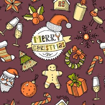 クリスマス色のシームレスパターン