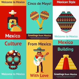 Мексика ретро постеры набор. добро пожаловать в мексику. синко де майо.