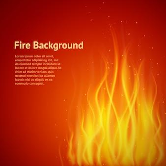 テキストテンプレートと炎の赤い背景