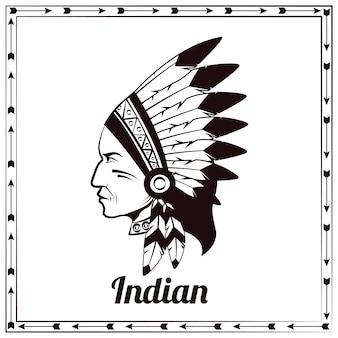 Вождь американских индейцев черный эскиз