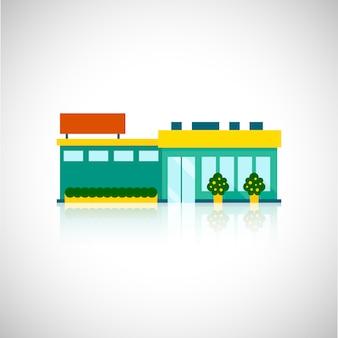 Супермаркет плоской иллюстрации витрина