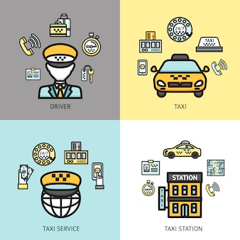 タクシーサービスデザインコンセプトフラット