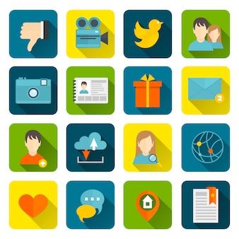 Плоский набор социальных иконок