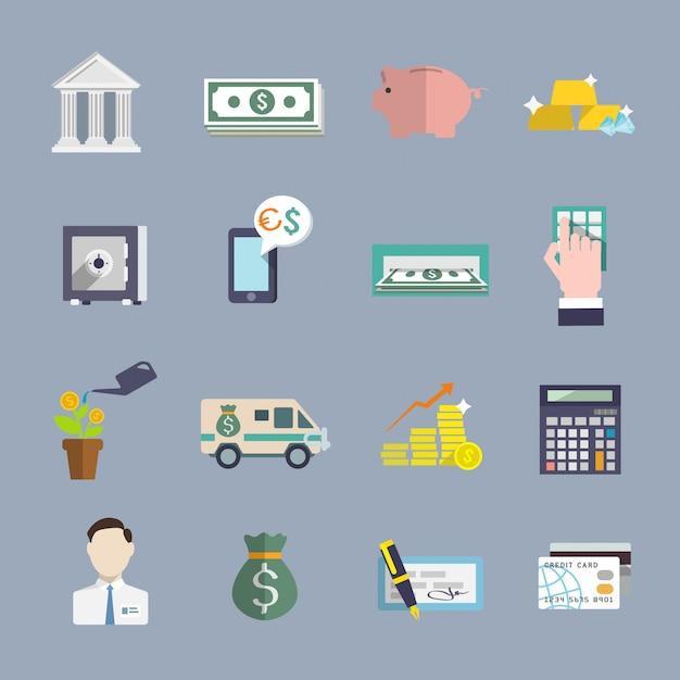 Плоский набор иконок банковских услуг