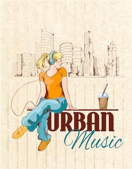 音楽を聴く女性と都市の音楽イラスト