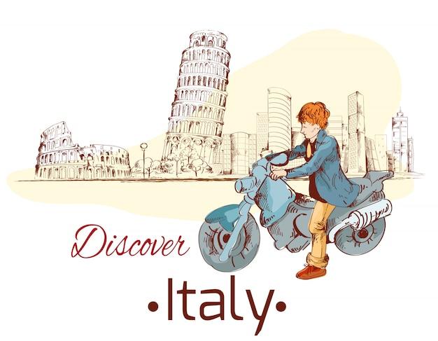 Откройте для себя италию иллюстрации