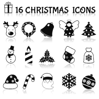 クリスマスのアイコンセットブラック