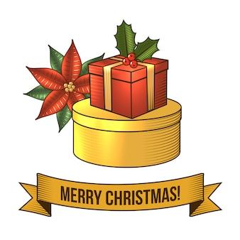 メリークリスマスとギフトボックスのレトロなイラスト