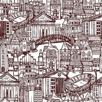 スケッチ街のシームレスパターン