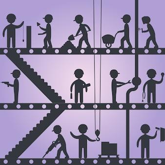 Силуэты строителей