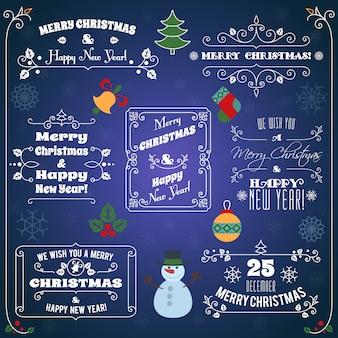 メリークリスマスと新年あけましておめでとうございます活版印刷の挨拶セット