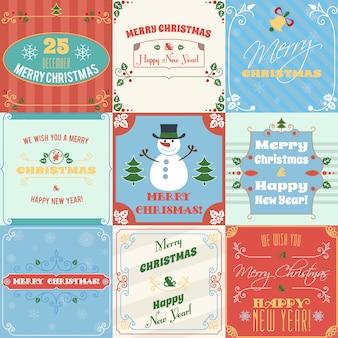 メリークリスマスとハッピーニューイヤーグリーティングカードセット