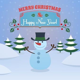 雪だるまと雪のメリークリスマスと幸せな新年のグリーティングカード
