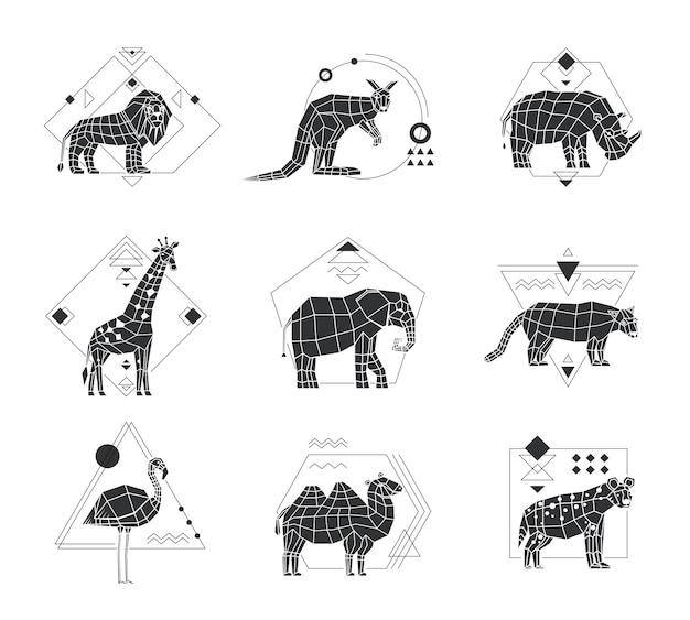 Животные многоугольные монохромные эмблемы