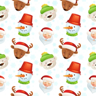 サンタクロース、鹿、雪だるま、ホッキョクグマのクリスマス文字シームレスパターン