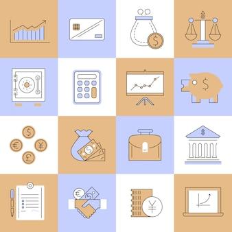 金融のアイコンセットフラットライン