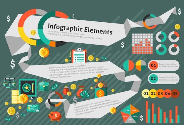 Набор шаблонов финансов инфографики